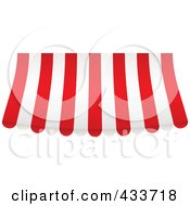 Royalty Free RF Clipart Illustration Of A Red And White Striped Curved Awning