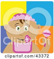 Clipart Illustration Of A Latin American Baby Girl With A Pacifier Bib And Rattle