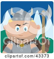 Clipart Illustration Of A Caucasian Viking Guard Man Holding An Ax by Dennis Holmes Designs
