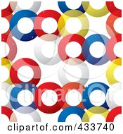 Seamless Background Of Red Yellow White And Blue Transparent Rings Over White by michaeltravers