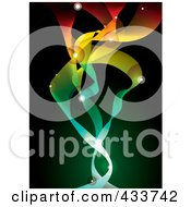 Royalty Free RF Clipart Illustration Of A Background Of Colorful Glowing Deep Space Ribbons On Green And Black