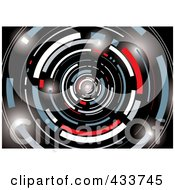 Royalty Free RF Clipart Illustration Of A Black White Gray Red And Blue Galactic Tunnel by michaeltravers