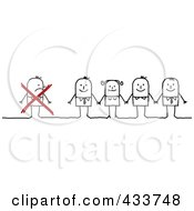 Royalty Free RF Clipart Illustration Of A Stick Man Crossed Out And Excluded From A Group