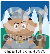Clipart Illustration Of A Hispanic Viking Guard Man Holding An Ax by Dennis Holmes Designs