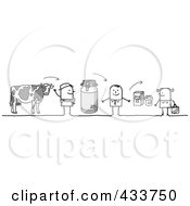 Royalty Free RF Clipart Illustration Of A Stick Man Selling His Milk To A Grocer Who Sells It To A Customer by NL shop