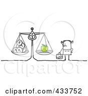 Royalty Free RF Clipart Illustration Of A Stick Woman Weighing Her Money And An Apple by NL shop