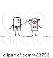 Royalty Free RF Clipart Illustration Of A Stick Man Plastic Surgeon Marking A Womans Body by NL shop
