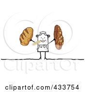 Royalty Free RF Clipart Illustration Of A Stick Woman Holding Bread And Nibbling On Wheat by NL shop