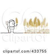 Royalty Free RF Clipart Illustration Of A Stick Man Farmer Harvesting Wheat by NL shop