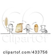 Royalty Free RF Clipart Illustration Of A Stick Man Selling His Wheat To A Grocer Who Sells Bread To A Customer by NL shop