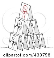 Royalty Free RF Clipart Illustration Of A Pyramid Of Stick Business Men Cards Stacked