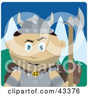 Clipart Illustration Of A Mexican Viking Guard Man Holding An Ax by Dennis Holmes Designs