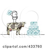 Royalty Free RF Clipart Illustration Of A Stick Man Holding A Carton Of Milk And Standing On A Cow by NL shop