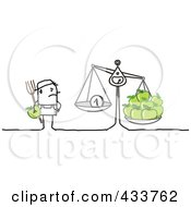 Royalty Free RF Clipart Illustration Of A Stick Man Farmer Weighing Earnings And His Apples by NL shop