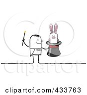 Royalty Free RF Clipart Illustration Of A Stick Man Magician With A Rabbit In A Hat