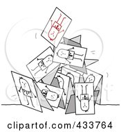 Royalty Free RF Clipart Illustration Of A Collapsing Pyramid Of Stick Business Men Cards