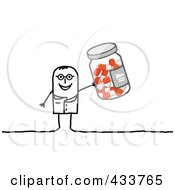 Royalty Free RF Clipart Illustration Of A Stick Man Doctor Holding A Bottle Of Pills