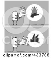 Royalty Free RF Clipart Illustration Of A Digital Collage Of A Stick Man Casting Shadows With His Hands