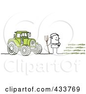 Royalty Free RF Clipart Illustration Of A Stick Man Farmer By A Tractor And Crop
