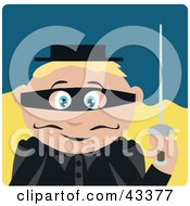 Clipart Illustration Of A Caucasian Masked Outlaw Boy Holding A Sword