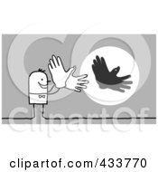 Royalty Free RF Clipart Illustration Of A Stick Man Casting A Bird Shadow With His Hands