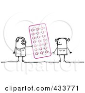 Royalty Free RF Clipart Illustration Of A Stick Woman Doctor Giving A Patient Birth Control Pills by NL shop
