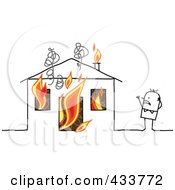 Royalty Free RF Clipart Illustration Of A Stick Man Standing Near His Burning House