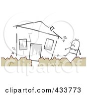 Stick Man Standing Near His Crumbling House During An Earthquake