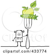 Stick Woman Holding Peas And An Apple On A Fork