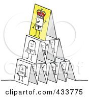 Royalty Free RF Clipart Illustration Of A Pyramid Of Stick Business People Under A King