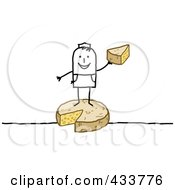 Royalty Free RF Clipart Illustration Of A Stick Man Standing On And Holding Cheese by NL shop
