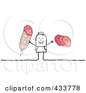 Royalty Free RF Clipart Illustration Of A Stick Man Holding Meat