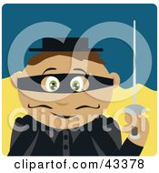 Clipart Illustration Of A Hispanic Masked Outlaw Boy Holding A Sword