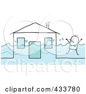 Stick Man Swimming Near His Flooded House