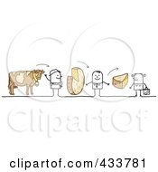 Royalty Free RF Clipart Illustration Of A Stick Man Selling His Cheese To A Grocer Who Sells It To A Customer by NL shop