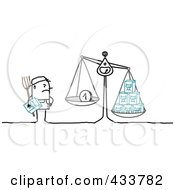 Royalty Free RF Clipart Illustration Of A Stick Man Farmer Weighing Milk And Earnings by NL shop