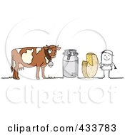 Royalty Free RF Clipart Illustration Of A Stick Man Farmer With Cheese A Canister And Dairy Cow by NL shop