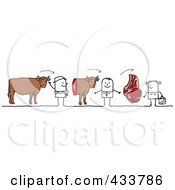 Royalty Free RF Clipart Illustration Of A Stick Man Selling His Cow To A Butcher Who Sells It To A Customer by NL shop