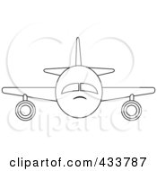 Front View Of An Outlined Airplane
