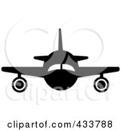 Front View Of A Black And White Airplane