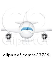 Royalty Free RF Clipart Illustration Of A Front View Of A White Airplane