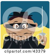 Clipart Illustration Of A Latin American Masked Outlaw Boy Holding A Sword