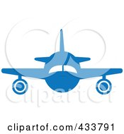 Front View Of A Blue Airplane