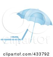 Royalty Free RF Clipart Illustration Of A Blue Beach Umbrella Over A Lounge Chair by Pams Clipart