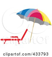 Colorful Beach Umbrella Over A Lounge Chair
