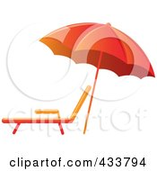 Royalty Free RF Clipart Illustration Of An Orange Beach Umbrella Over A Lounge Chair