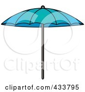 Royalty Free RF Clipart Illustration Of A Blue Beach Umbrella by Pams Clipart