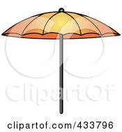 Royalty Free RF Clipart Illustration Of An Orange Beach Umbrella by Pams Clipart