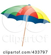 Royalty Free RF Clipart Illustration Of A Colorful Beach Umbrella by Pams Clipart