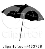 Royalty Free RF Clipart Illustration Of A Black And White Beach Umbrella by Pams Clipart